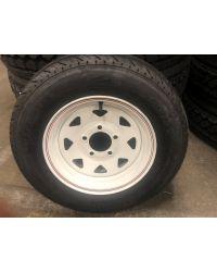 "Hiway Master Trailer Tire  Wheel Assmbly ST205//75D14 Bias LR C 14/"" 5-5 White SPK"